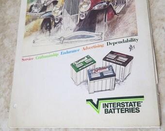 Vintage Interstate Batteries Brochure Book Catalog Dealer Order Form Man Dad Fathers Day Man Cave Decor Literature