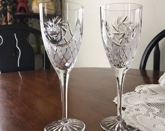 Crystal Champagne Flutes, Toasting Glasses, Two Lead Crystal Flutes, Lead Crystal Glasses, Wedding Glasses, Champagne Glasses