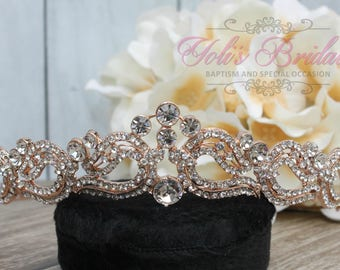 FAST SHIPPING!! Rose Gold Swarovski Tiara, Crystal Tiara ,Wedding Tiara ,Crown , Princess Tiara, Crystal Headpiece, Corona, XV Tiara
