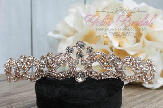 FAST SHIPPING!! Rose Gold Swarovski Tiara, Crystal Tiara ,Wedding Tiara ,Crown , Princess Tiara, Crystal Headpiece, Corona, XV Tiara