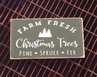 Farm Fresh Christmas Trees Sign - Christmas - Wooden Sign - Christmas Tree -  Seasonal