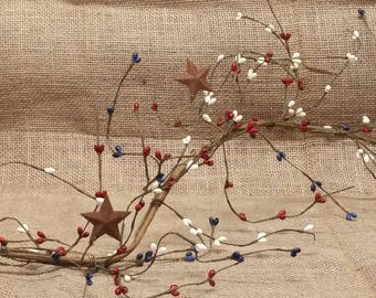 Americana Berry Garland - Patriotic - 4th of July craft supply - 4th of July decor - Americana Decor - Primitive Decor - End of Summer Sale