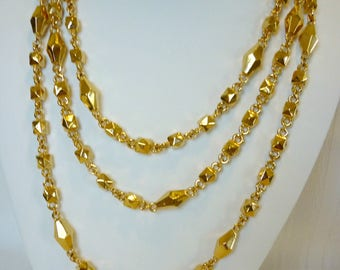 "Vintage Retro Anne Klein Unique 60"" Long Gold Tone Necklace"