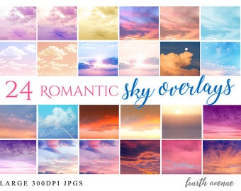 24 Romantic Cloud Sky Overlays for your photos for Photoshop Gimp any program 300DPI JPGs Instant Download