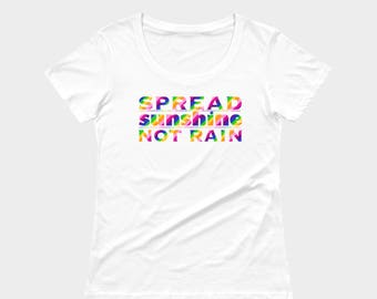 Peaceful protest tshirt, be kind, spread sunshine not rain, political tee, white, rainbow by Felicianation Ink