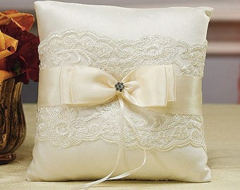 Lace and Bow Detail Wedding Ring Cushion, Wedding Ring Bearer Pillow