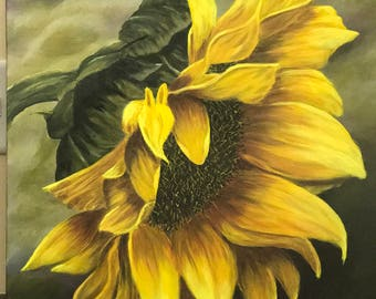 Original Acrylic Painting Flowers, Landscape, Sunflower, flower on canvas, Wall Art, Gold, Orange, Yellow, Green, Purple
