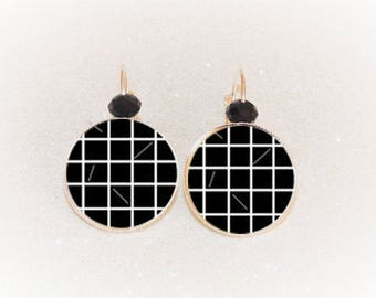 Earrings sleepers silver cabochon black and white grid Plaid