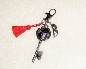 Jewelry bag/key theme 50 shades of Grey, silver key, mask/Red