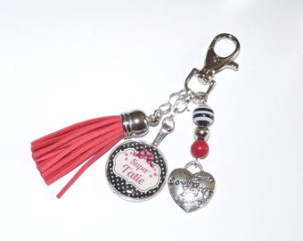 Jewelry bag Keychain SUPER Grandma/mother/godmother/Tati