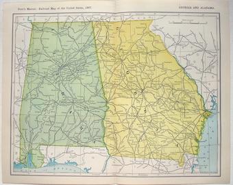 Georgia & Alabama - Original 1907 Railroad Map. Antique