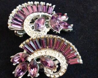 Vintage Purple Rhinestone Earrings, 1960, Clip, Costume