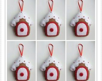 Felt Christmas Ornaments -  Red Gingerbread Houses - Set Of 6 - Christmas Ornaments