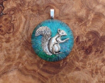 Beltane Spring Easter Tree Tribe Squirrel Ormus Orgone Crystal Energy Unisex Pendant Necklace 25mm Forest Creature Wisdom Totem Green Blue