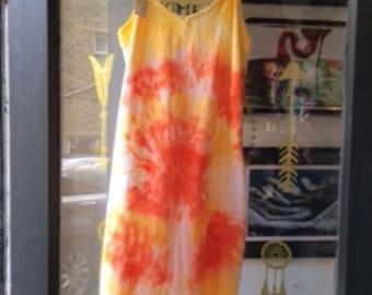 Tie dye long vest/bodycon size 10