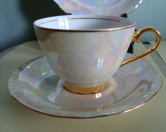 Vintage Benedikt Brothers GB trio Czechoslovakia iridescent lusterware tea cup saucer plate with gold trim 1960s Fine china  lustreware