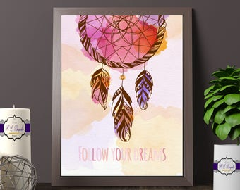 Bohemian Pink Dream Catcher Print - Follow Your Dreams Print - Watercolour Dream Catcher Print - Dream Catcher Decor- Printed and Unframed