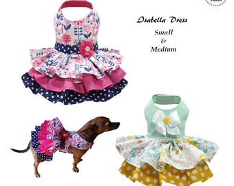 Isabella Dog Dress SMALL & MEDIUM, Dog Dress Sewing Pattern PDF, Digital Dog Harness Sewing Pattern, Pet Clothes Tutorial and Sewing Pattern