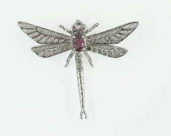 Detailed Vintage Sterling Silver Amethyst Dragonfly Brooch Pendant Charm