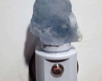 Automatic Sensor Blue Celestite LED Gemstone Night Light -- Geodes//Crystals//Minerals