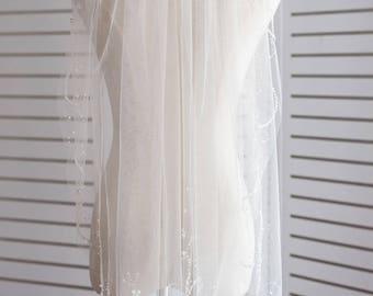 Fingertip Wedding Veil, Bridal Veil, Ivory Wedding Veil, Wedding Veil with Pearls, Wedding Veil Crystal, Wedding Veil with Rhinestones