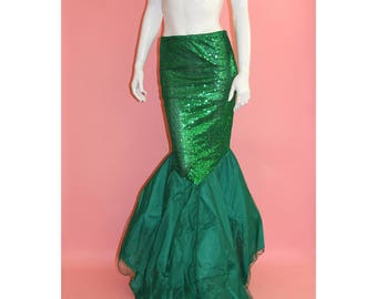 Mermaid Woman Sequins And Chiffon Maxi Skirt Dress Cosplay for Halloween Costume Fish Tail Green Ariel Floor Length Size M