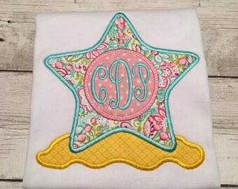 Star Fish Monogram Shirt - Girl Beach Shirt - Summer Shirt For Girls - Girls Summer Beach Shirt - Monogram Shirt For Girls - Star Fish Shirt