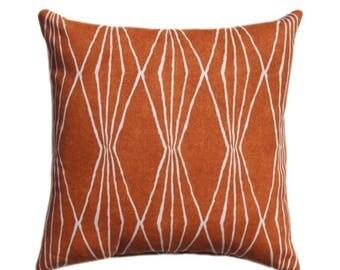 SALE Burnt Orange Pillow Cover, Decorator Pillow Cover, Home Decor Pillow, Rust Diamonds Cushion, Cushion Pillow Case