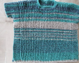knitted sweater pontcho, blue, kids, 4 years old, hand knitted