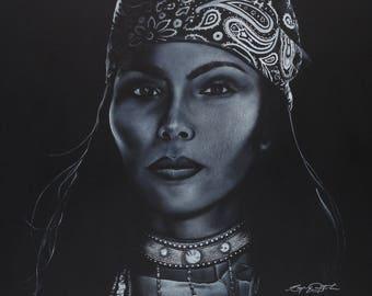 "Canvas Print of ""Rock Woman"" by Oklahoma Cherokee Artist Bryan Waytula"
