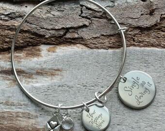 Single and Loving It Personalized Wire Adjustable Bangle Bracelet