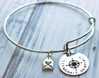 Coordinates Compass Personalized Adjustable Wire Bangle Bracelet