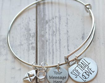 Softball Love Wire Adjustable Bangle Bracelet