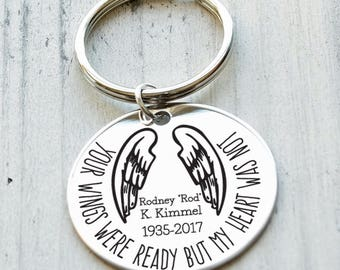 Wings Were Ready Memorial Personalized Key Chain - Engraved