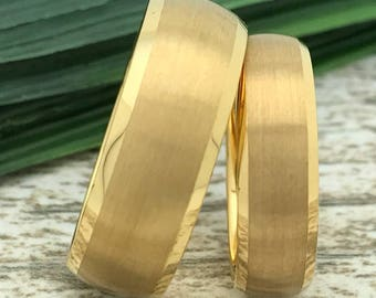 8mm/6mm Gold Plated Tungsten Rings, His And Her Ring Set, Engraved Wedding Date Rings, Couple Promise Rings, Matching Couple Ring, Date Ring
