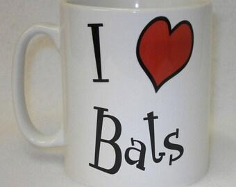 I Love Heart Bats Mug Can Be Personalised Great Animal Lover Chiroptera Gift