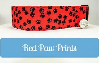 Big Wide Red Paw Prints Cotton Dog Collar for Mastiff Great Dane Doberman Pitty Big Dog by LaVilla