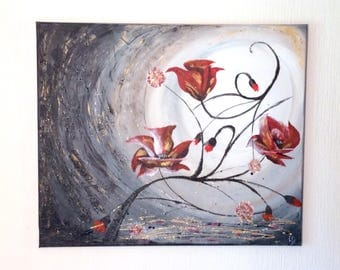 Red floral abstract acrylic paint