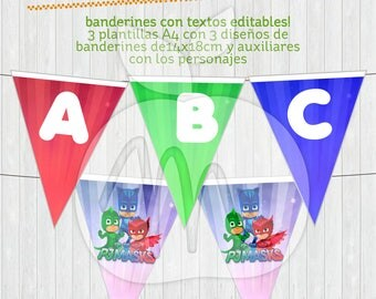 PJMASKS Printable banner with Editable Texts! INSTANT Download!! Catboy, Owlette & Gekko