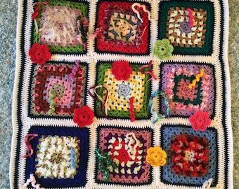 Crochet Dementia Fidget Quilt Sensory Lap Blanket for Alzheimers Dementia Autism