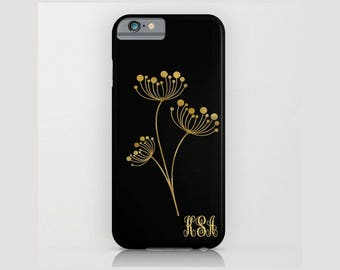 Custom Device case for iPhone 5/5s, iPhone 6/ 6s, iPhone 7/ 7s, Samsung, Galaxy, Black, Gold, Flower, Custom, Nature, Gift, Christmas, Girl