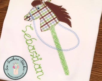 Raggedy Hobby Horse Applique Design ~ Stick Pony ~ Instant Download