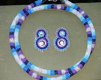 Beaded earrings and necklace set