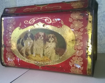 Delicious Victorian tin with 'Our Happy Days', puppies, kittens and parakeets