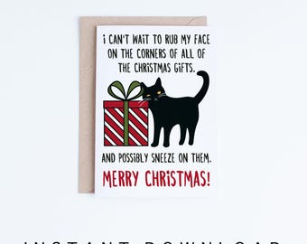 Printable Christmas Cards, Funny Black Cat Christmas Card, Cat Humor, Cat Lovers, Cute Cat Illustration Card DIY, Digital Downloads
