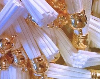 White Tassels - 58mm Long Tassels - 10 Tassel Pendant with Gold Cap - Decorative Tassels For Jewelry, Purse Tassel, Key Chains - TL-G003