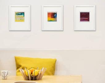 "4x4""Print, Set of 3 Abstract Giclee Prints, Yellow, Blue, Maroon, Red, Orange, Modern home decor, Wall art, Abstract Print Collection"