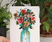 Bouquet in vase glass - postcard