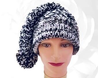 Black Hat, White Hat, Brown Hat, Gold Hat, Black and White Hat, Pom Pom Hat, Black and White Slouchy, Stocking Hat, Chunky Knit Hat, OOAK