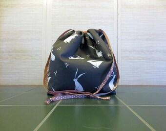 Folkwood Rabbits - Jumbo Drawstring, Divided Knitting Project Bag, Crochet Bag, Sweater Project Bag, Knitting Organizer, Fox